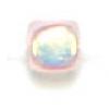 Glass Bead Cubes 4X4mm Aurora Borealis Transparent Rosaline 1/2 Coat - Strung